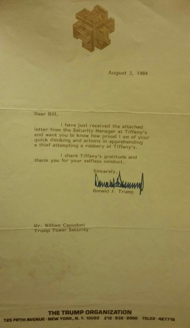 Letter from Trump thanking Bill Capudoni for apprehending thief
