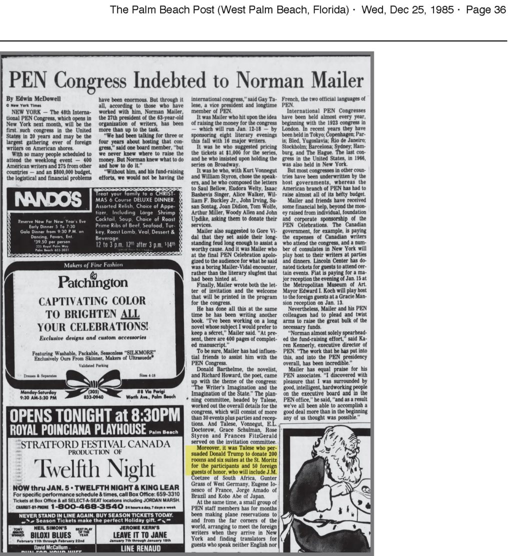 Pen Congress indebted to Mailer and Donald Trump