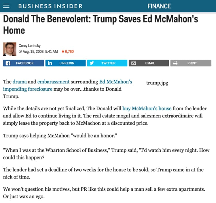 Trump Saves Ed McMahon's Home By Buying It Out of Foreclosure and Letting Him Live in it