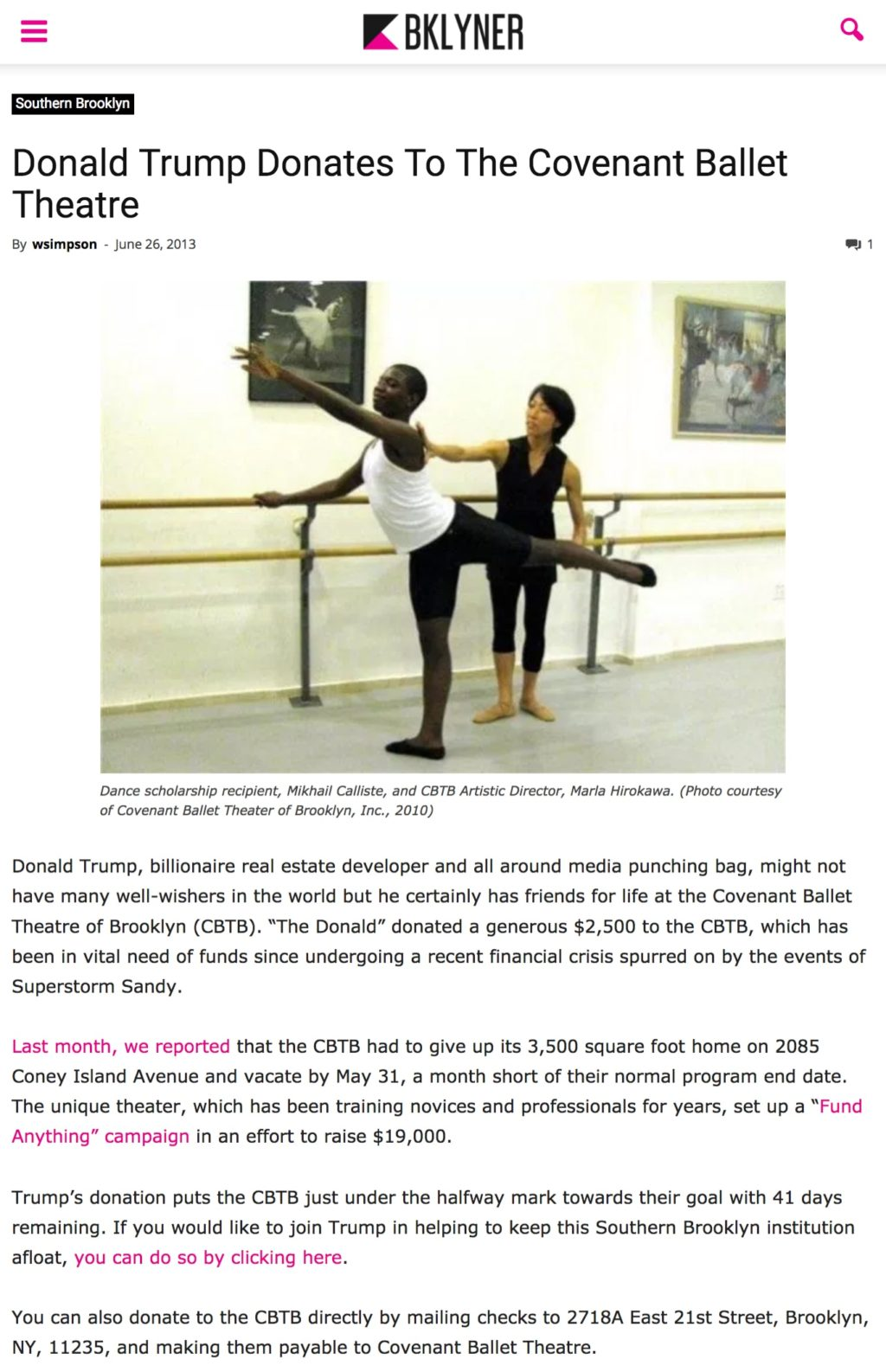Donald Trump Donates To The Covenant Ballet Theatre