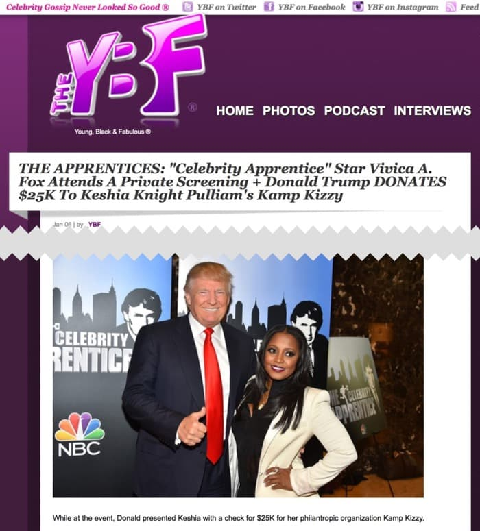 Donald Trump Donates $25K To Keshia Knight Pulliam's Kamp Kizzy Charity