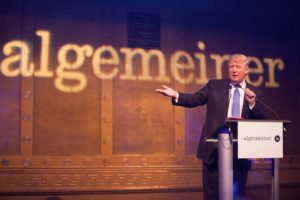 Donald Trump accepts The Algemeiner's Liberty Award. Photo: Sarah Rogers.