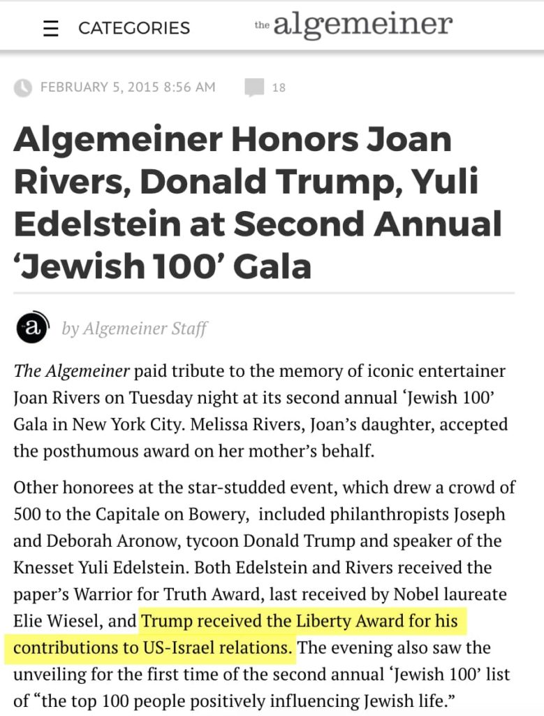 Algemeiner Honors Joan Rivers, Donald Trump, Yuli Edelstein at Second Annual 'Jewish 100' Gala