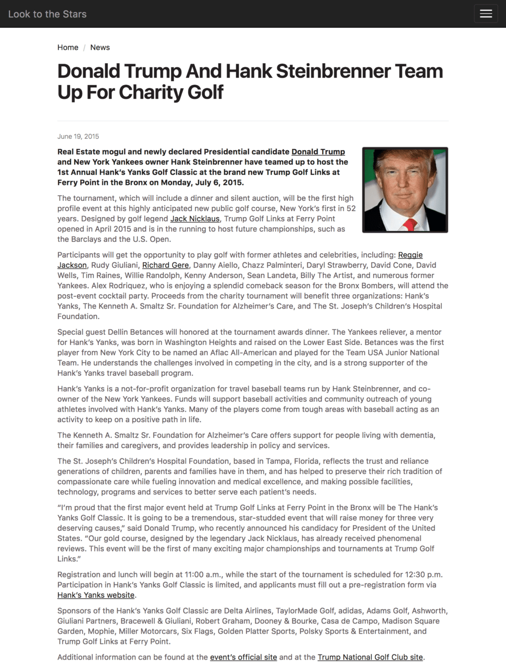Donald Trump and Hank Steinbrenner Team Up for a Charity Golf Event Held at His Golf Course in the Bronx