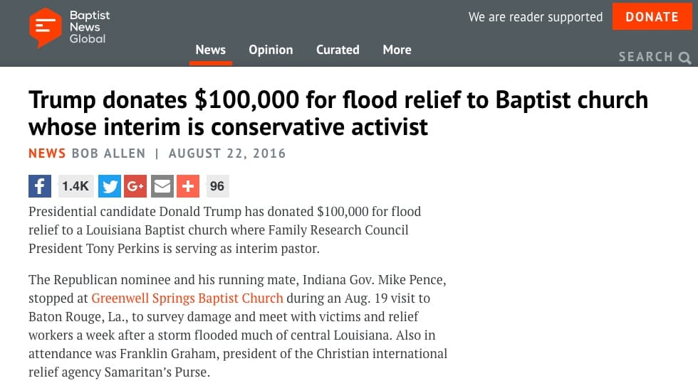 Presidential candidate Donald Trump donated $100,000 to a Baptist church in Louisiana dealing with flood relief