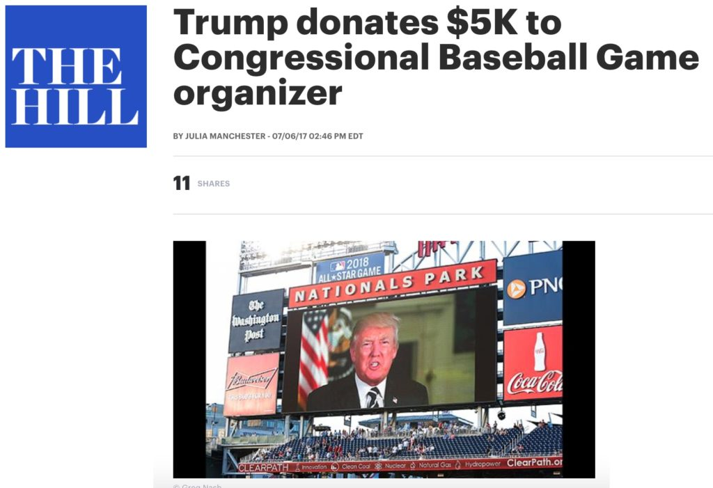 Trump Donates $5K to Congressional Baseball Game Charities