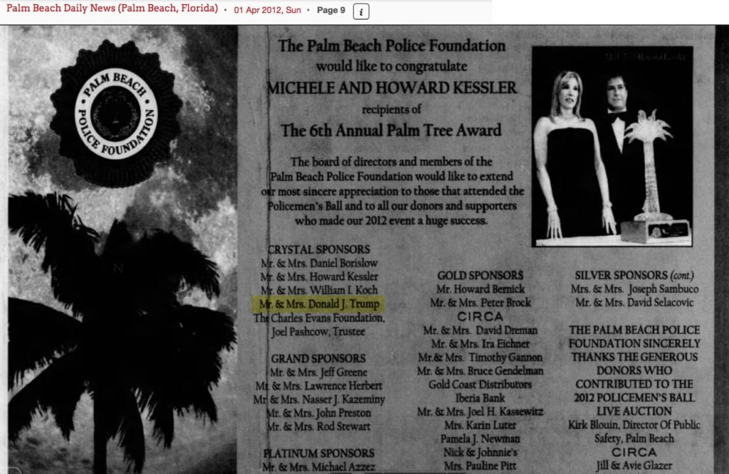 As printed in the April 1st 2012 Palm Beach Daily News, Mr. & Mrs. Donald Trump are thanked for being Crystal Sponsors of the Palm Beach Police Foundation's 2012 Policemen's Ball.