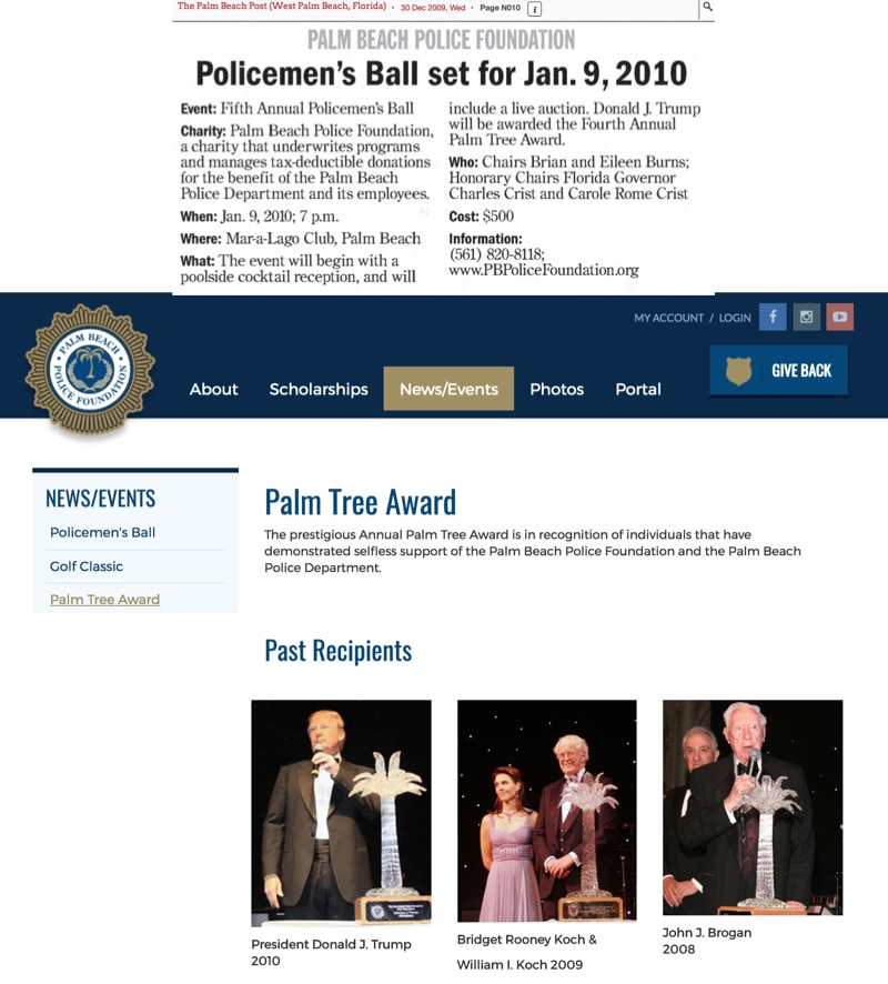 Trump is Awarded the Palm Beach Police Palm Tree Award