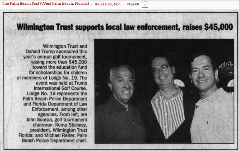 Wilmington Trust and Donald Trump sponsored this year's annual golf tournament, raising more than $45,000 toward the education fund for scholarships for children of members of Lodge No. 19.