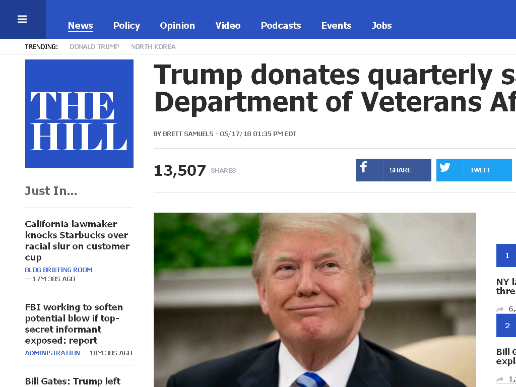 President Trump Donates his Entire First Quarterly Paycheck of 2018 ($100,000) to the Department of Veterans Affairs